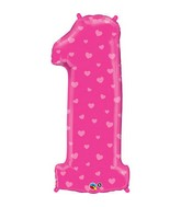 "38"" Number One Pink Hearts Balloon"