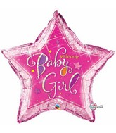 "36"" Welcome Baby Girl Stars Jumbo Balloon"