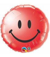 "18"" Red Smiley Face Packaged Mylar Balloon"