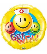 "36"" Get Well Smiley Faces Packaged Mylar Balloon"