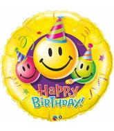 "36"" Birthday Smiley Faces Jumbo Mylar Balloon"
