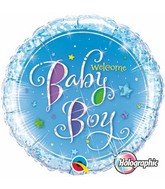 "18"" Welcome Baby Boy Stars Mylar Balloon"