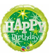 "18"" Green Sparkle Happy Birthday Mylar Balloon"