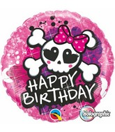 "18"" Birthday Skull Bow & Crossbones Pink Balloon"