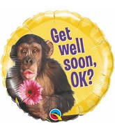"18"" Get Well Chimp With Flower Mylar Balloon"