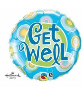 "18"" Get Well Blue Dots Mylar Balloon"