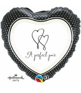 "18"" A Perfect Pair Heart Mylar Balloon"