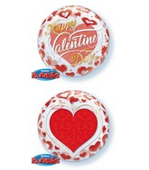 "22"" Valentine&#39s Day Red Hearts Bubble Balloon"