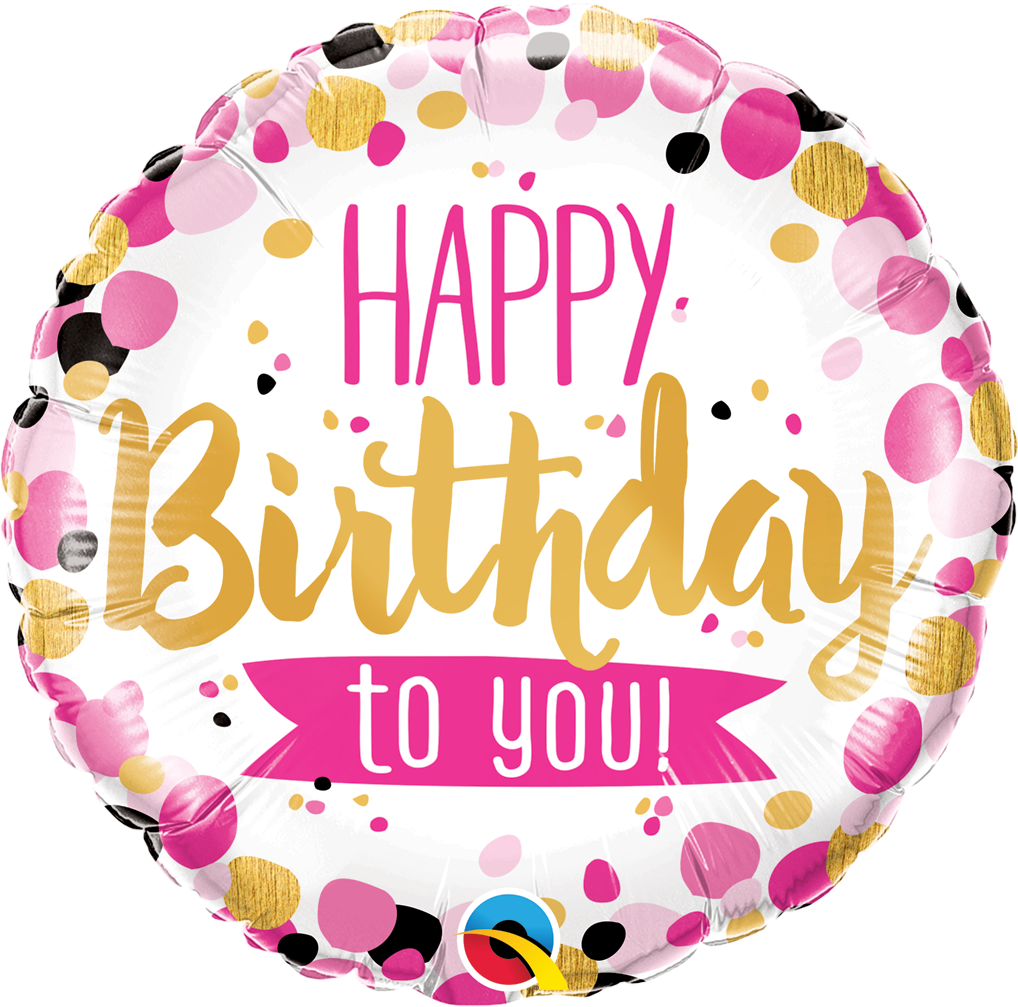 18 Happy Birthday To You Pink Gold Foil Balloon