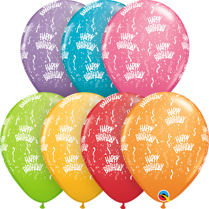 11 Festive Assorted 50 Count Birthday Latex Balloons