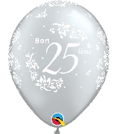 "11"" Silver 50 Count Bon 25 Damas Latex Balloons"
