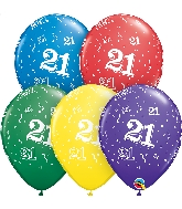 "11"" Special Assorted 50 Count 21 All Around Latex Balloons"