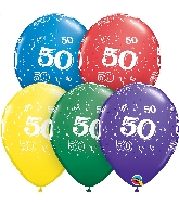 "11"" Special Assorted 50 Count 50 All Around Latex Balloons"
