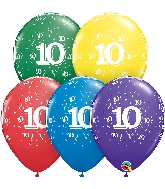 "11"" Special Assorted 50 Count 10 Confetti Latex Balloons"