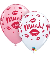 "11"" Pink & White 50 Count Kissey Lips Muah! Latex Balloons"