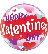 "22"" Happy Valentine's Day Hearts Bubble Balloon"