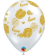 "11"" Latex Balloons Diamond Clear Gold Love Roses"