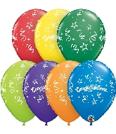 "11"" Carnival Assort Congratulations Streamers Latex Balloons"