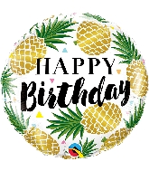 "18"" Birthday Golden Pineapple Foil Balloon"
