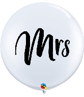 "36"" White Mrs Latex Balloons 2 Per Bag"
