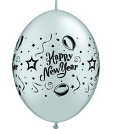 "12"" Qualatex Latex Quicklink New Years Party Silver 50 Count"