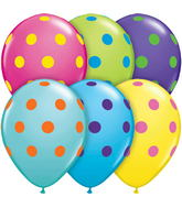 "11"" Assorted Colorful Big Polka Dots 50 Count"
