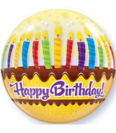 "22"" Birthday Candles & Frosting Plastic Bubble Balloons"