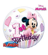 "22"" Minnie Mouse 1st Birthday Bubble Balloons"