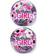 "22"" Birthday Girl Zebra Stripes Plastic Bubble Balloons"