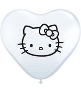 "6"" Hello Kitty Face Balloons White (100 Count)"