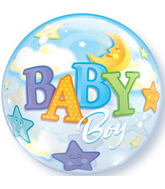 "22"" Baby Boy Moon & Stars Plastic Bubble Balloons"