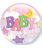"22"" Baby Girl Moon & Stars Plastic Bubble Balloons"