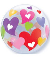 "22"" Colourful Hearts Plastic Bubble Balloons"