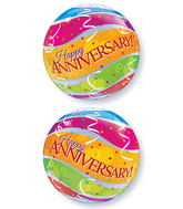 "22"" Anniversary Colourful Bands Plastic Bubble Balloons"