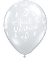 "16"" Just Married Butterflies Diamond Clear (50 ct.)"