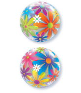 "22"" Fanciful Flowers Plastic Bubble Balloons"