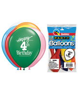 "11"" Happy 4th Birthday Assorted  5 count Latex Balloons"