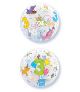 "22"" Age 3 Cuddly Pets Plastic Bubble Balloons"