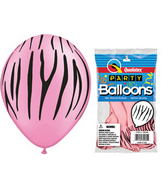 "11"" Zebra Stripes Neon Pink  5 count Latex Balloons"