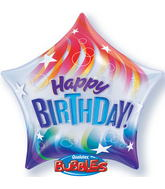 "22"" Birthday Colourful Stripes Plastic Bubble Balloons"
