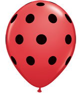 "11"" Big Polka Dots Red w/Black Ink (50 ct.)"