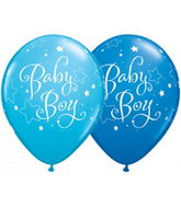 "11"" Baby Boy Stars Assorted Dark Blue & Robin's Egg Blue 50s"