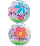 "22"" Birthday Funky Flowers Plastic Bubble Balloons"