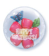 "24"" Birthday Flower Plastic Bubble Balloons"
