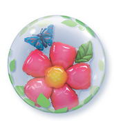 "24"" Leaves Flower Plastic Bubble Balloons"