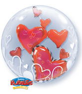 "24"" Lovely Floating Hearts Plastic Double Bubble Balloons"