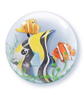 "24"" Seaweed Tropical Fish Plastic Double Bubble Balloons"