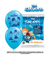 "12"" The Smurfs 6 pack Latex Balloons"