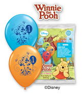 "12"" Pooh Happy 1st Birthday 6 pack Balloons"