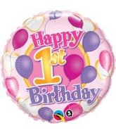 "18"" 1st Birthday Balloons & Hearts Mylar Balloon"